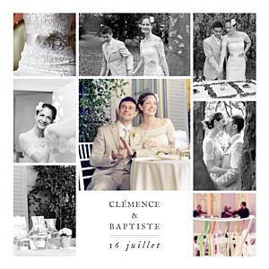Carte de remerciement mariage marron grand souvenir 8 photos blanc