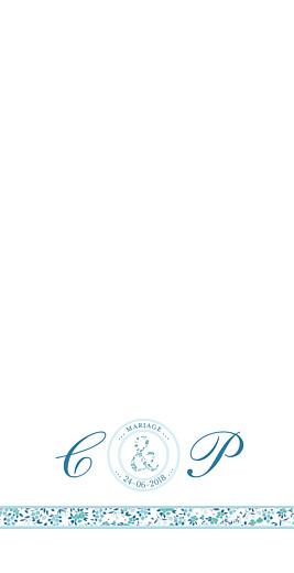 Menu de mariage Ruban liberty (4 pages) bleu