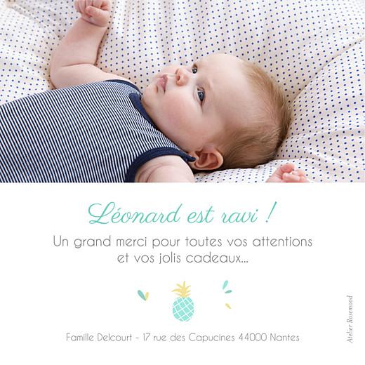 Carte de remerciement Petit ananas photo bleu & rose - Page 2