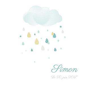 Faire-part de naissance nuage tombe la pluie (triptyque) blanc & vert