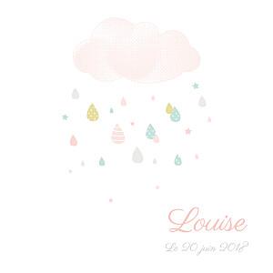 Faire-part de naissance rayures tombe la pluie (triptyque) blanc & rose