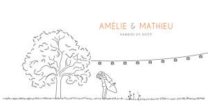 Faire-part de mariage Promesse champêtre (pano) blanc
