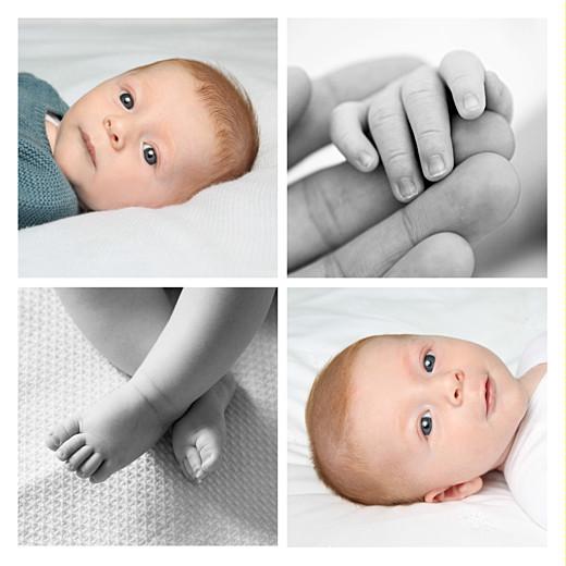 Faire-part de naissance Simple 4 photos blanc