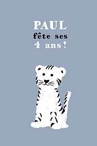 Carte d'anniversaire mixte bigre un tigre gris & blanc