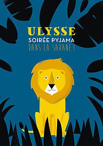 Carte d'anniversaire safari bleu & jaune
