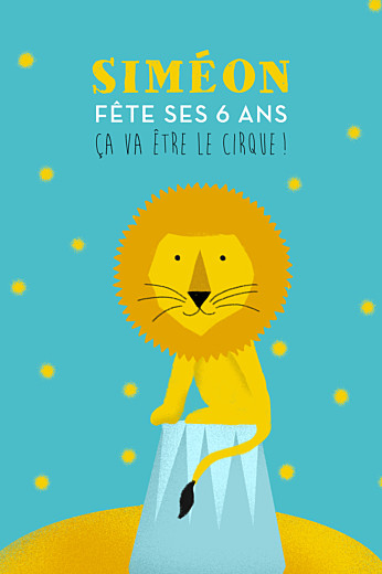 Carte d'anniversaire Fanfaron le lion turquoise & jaune