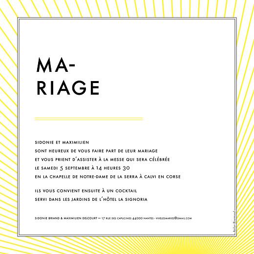 Faire-part de mariage Sunlight (carré) jaune - Page 2