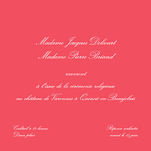 Carton d'invitation mariage rose chic médaillon grenadine