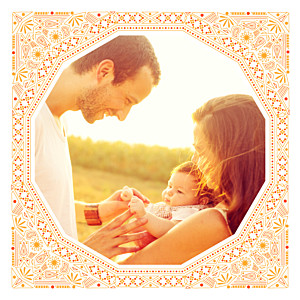 Faire-part de naissance bilingue nomade bilingue orange