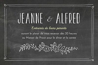 Carton d'invitation mariage Ardoise noir finition