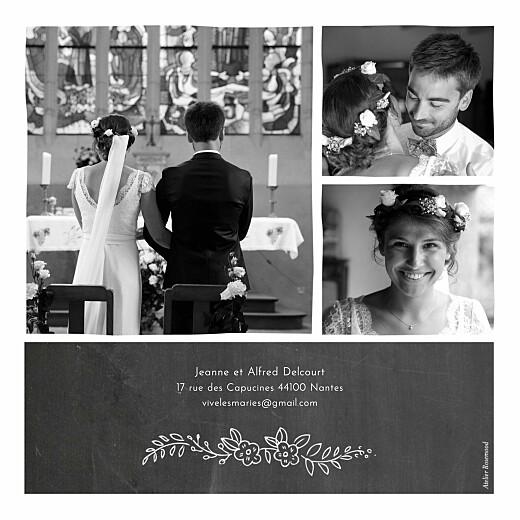 Carte de remerciement mariage Ardoise 3 photos fleurs noir - Page 2