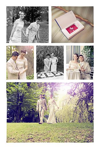 Carte de remerciement mariage Ardoise 6 photos fleurs noir - Page 2