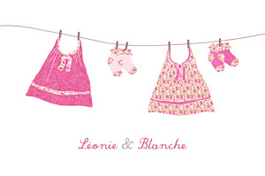 Carte de remerciement jouets merci linge liberty jumelles rose