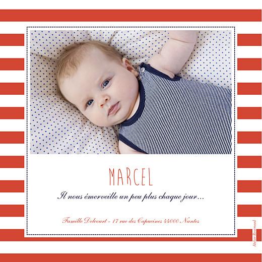 Faire-part de naissance Matelot photo bleu & rouge - Page 2