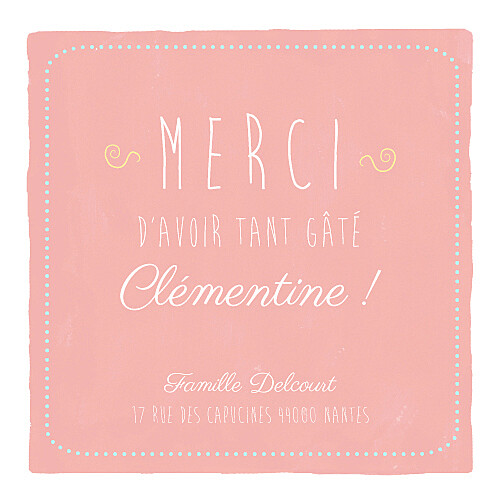 Carte de remerciement Merci happy day photo corail - Page 1