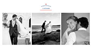 Carte de remerciement mariage rouge marinière 3 photos bleu marine & pompon rouge