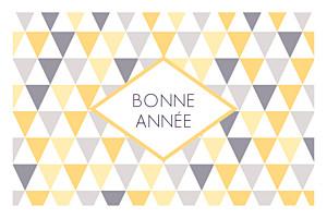 Carte de voeux design petits triangles photo jaune violet