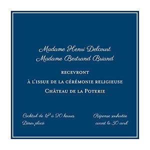 Carton d'invitation mariage traditionnel carré chic bleu marine