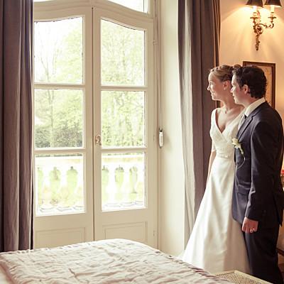 Carte de remerciement mariage L'essentiel kraft & bleu-violet finition