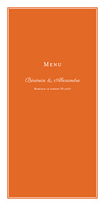 Menu de mariage orange carré chic orange