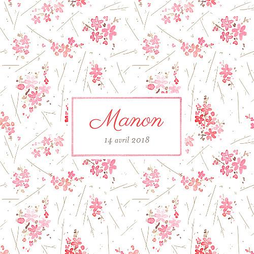 Faire-part de naissance Fleurs des champs rose