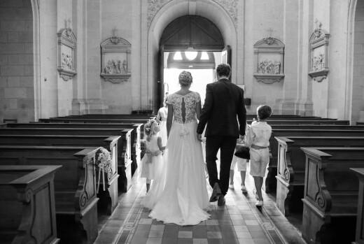 Carte de remerciement mariage Grâce blanc bleu