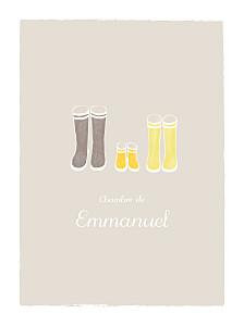 Affichette famille balade beige jaune