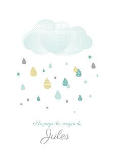 Affiche vert tombe la pluie blanc vert