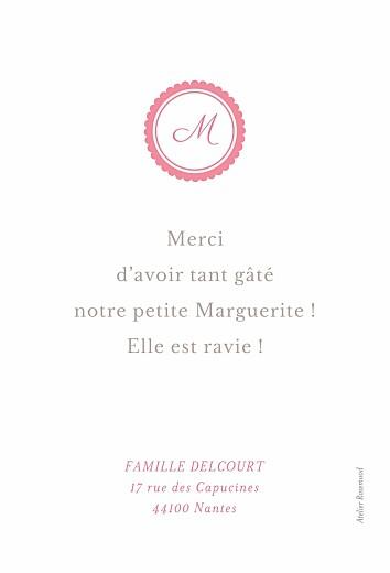 Carte de remerciement Petit monogramme rose - Page 2