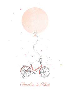 Affiche rouge à bicyclette corail