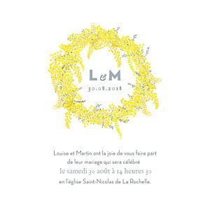 Faire-part de mariage louise pianetti mimosa jaune
