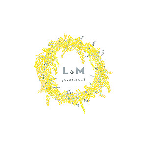Faire-part de mariage louise pianetti mimosa (4 pages) jaune
