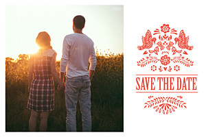 Save the date rose papel picado corail