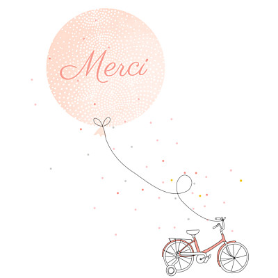 Carte de remerciement Merci à bicyclette corail finition