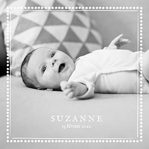 Faire-part de naissance design ma perle 3 photos blanc