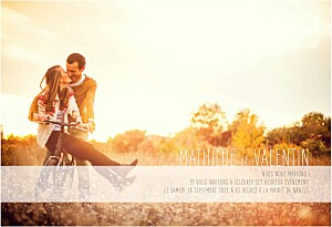 Faire-part de mariage avec photo engagement photo (paysage) blanc