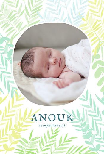Faire-part de naissance Feuillage portrait photo vert