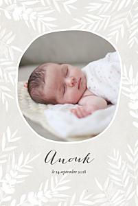 Faire-part de naissance marron feuillage portrait photo gris taupe