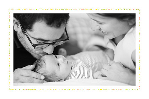 Faire-part de naissance Liberty tradition 2 photos jaune & corail - Page 2