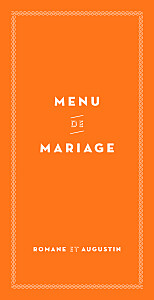 Menu de mariage orange la déclaration orange