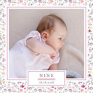 Faire-part de naissance avec photo liberty coeur prune