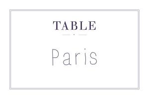 Marque-table mariage kraft l'essentiel kraft & bleu-violet
