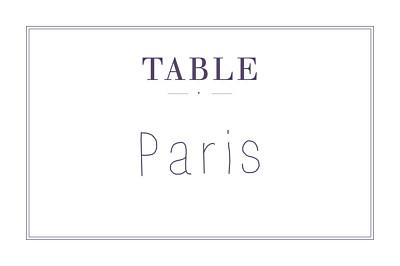 Marque-table mariage L'essentiel kraft & bleu-violet finition