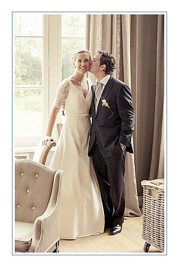 Carte de remerciement mariage Chic liseré (portrait) bleu