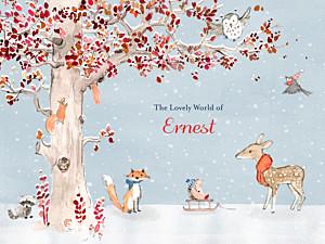 Affichette animaux conte d'hiver bleu