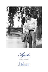 Carton d'invitation mariage avec photo tout simplement blanc