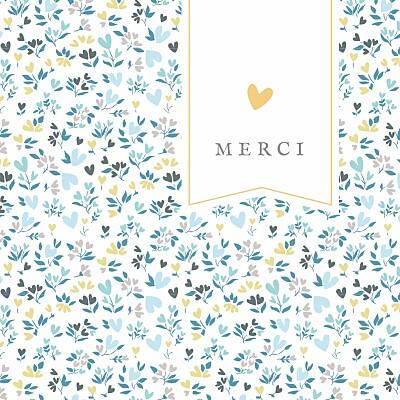 Carte de remerciement Petit liberty cœur photo bleu finition