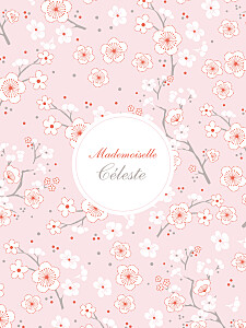 Affiche motifs cerisiers en fleurs rose