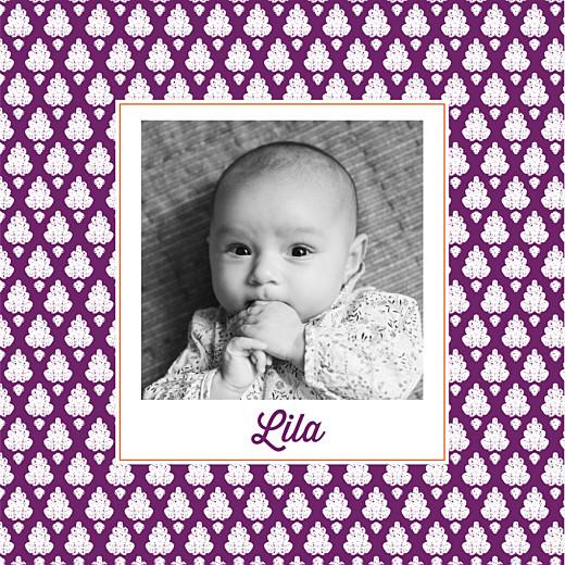 Faire-part de naissance Batik (2 photos) violet