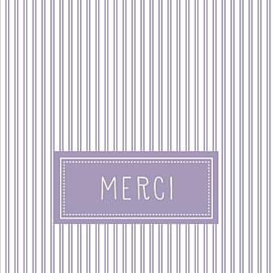 Carte de remerciement rayures merci petites rayures lilas
